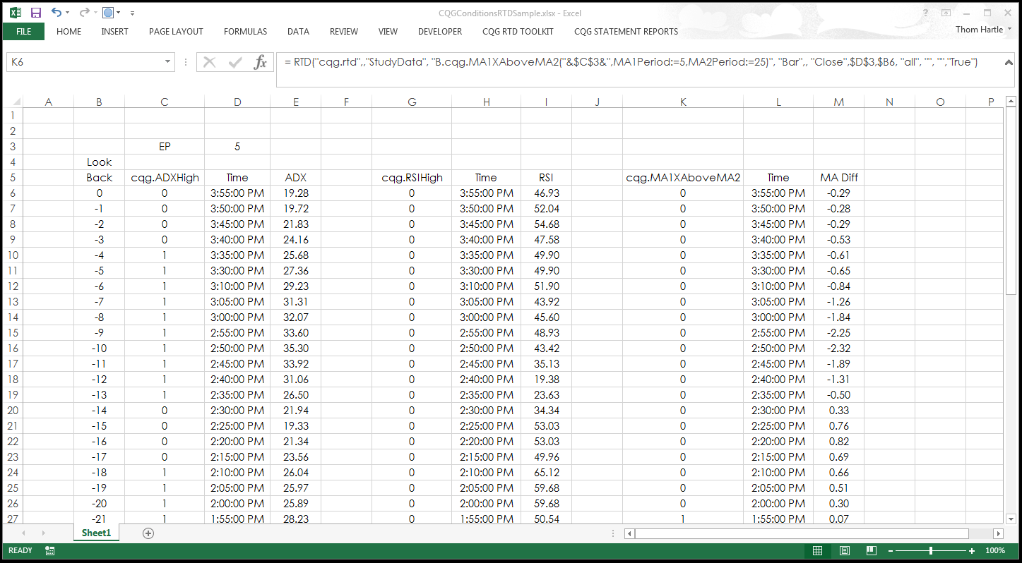 Calling Conditions In Excel Using Rtd