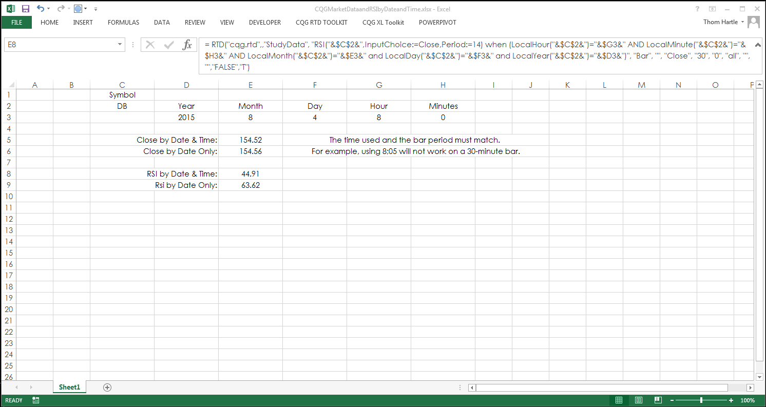 Pulling Data Into Excel By Date And Time