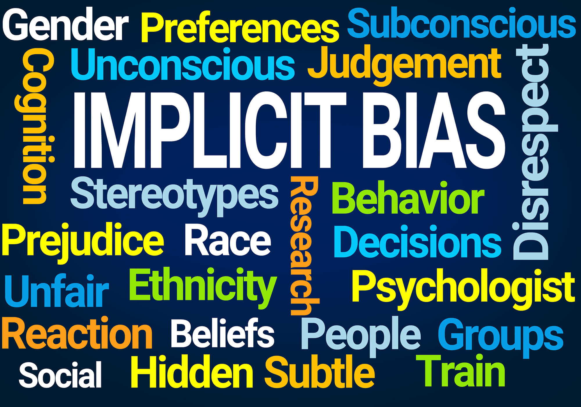 implicit bias words with other words on black background