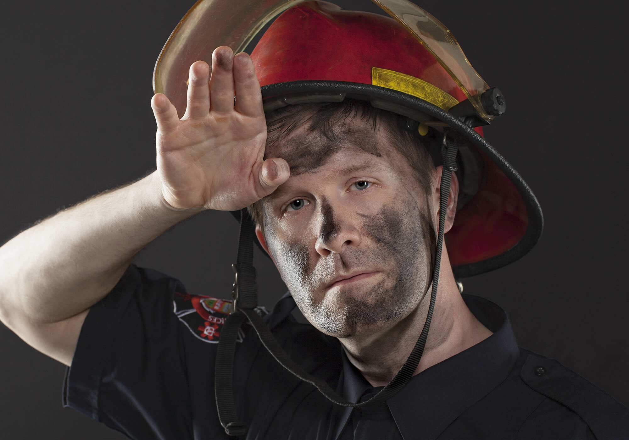 firefighter with soot on face