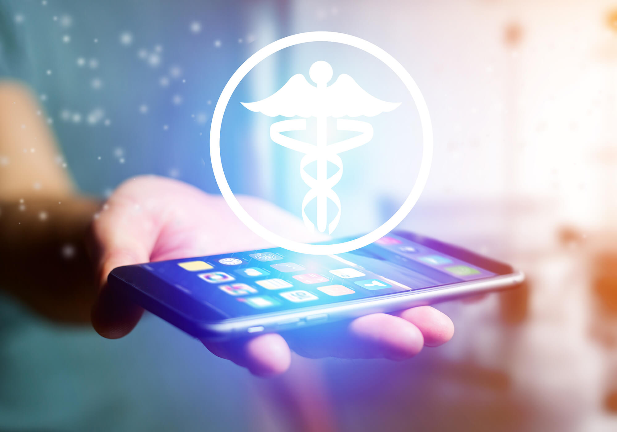 smartphone app with medical symbol
