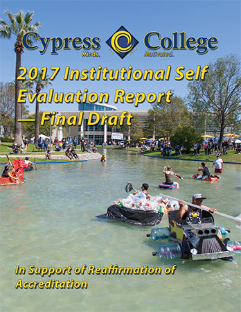an image with text reading Cypress College 2017 Institutional Self Evaluation Report - Final Draft with a picture of students participating in the duck pond race