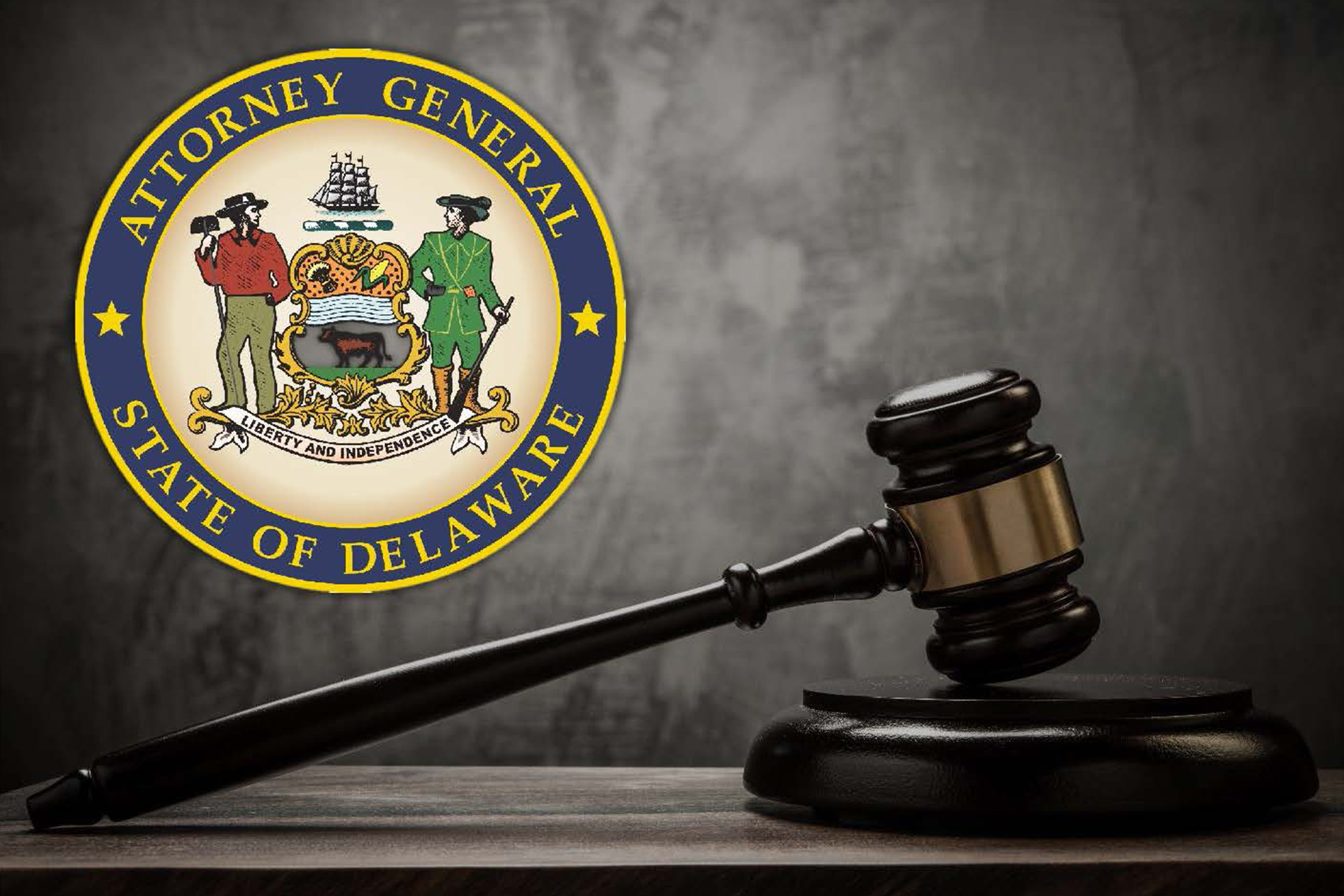Image of the Attorney General's Seal and a gavel