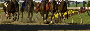 Low shot capturing Thoroughbred horse hooves pounding down the track at Delaware Park.
