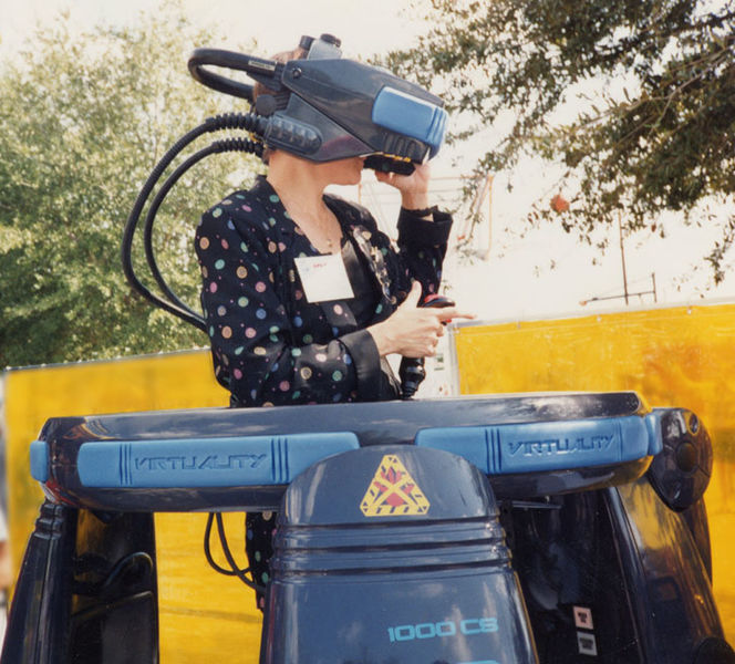 Scientist and artist Jacki Morie tests out the Virtuality system in 1992.