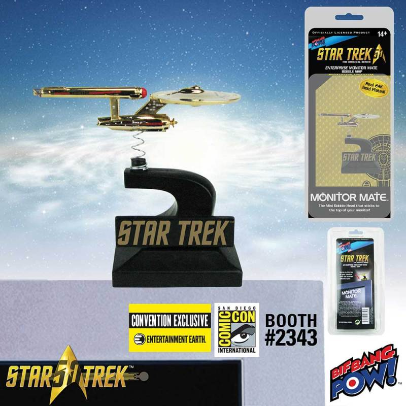 Star Trek: The Original Series Enterprise Monitor Mate Bobble Ship 24K Gold Plated - Convention Exclusive