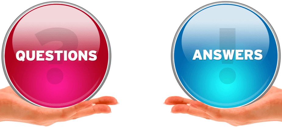 "Image of two hands holding buttons with the words ""Questions"" and ""Answers"""