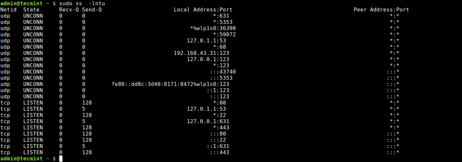 Find Open Ports Using ss Command