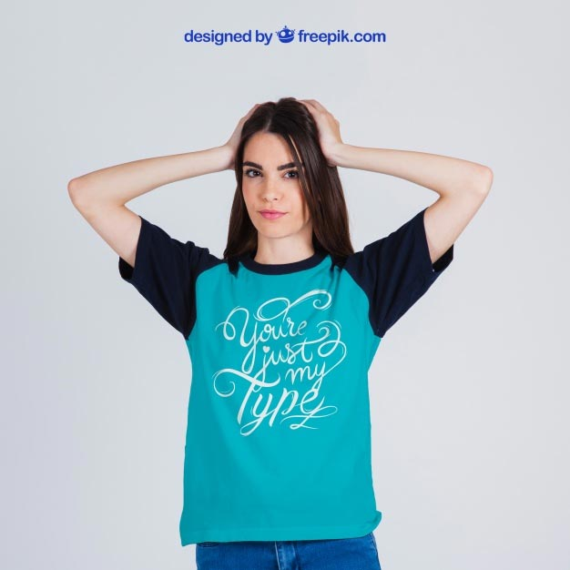 Female t-shirt mockup Free Psd