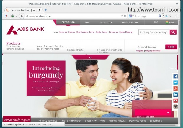 Browsing a Banking Site
