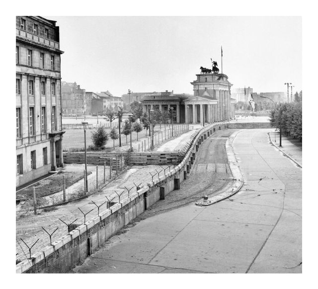 The Berlin Wall near the Brandenberg Gate one year into construction.