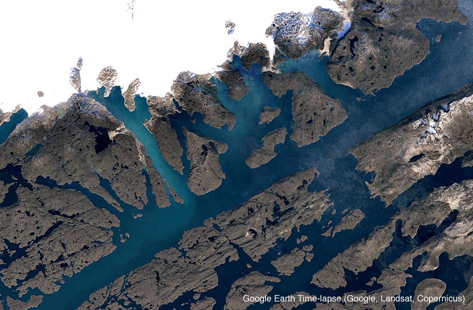 Satellite image of Qaleraliq glacier, Greenland in 2018