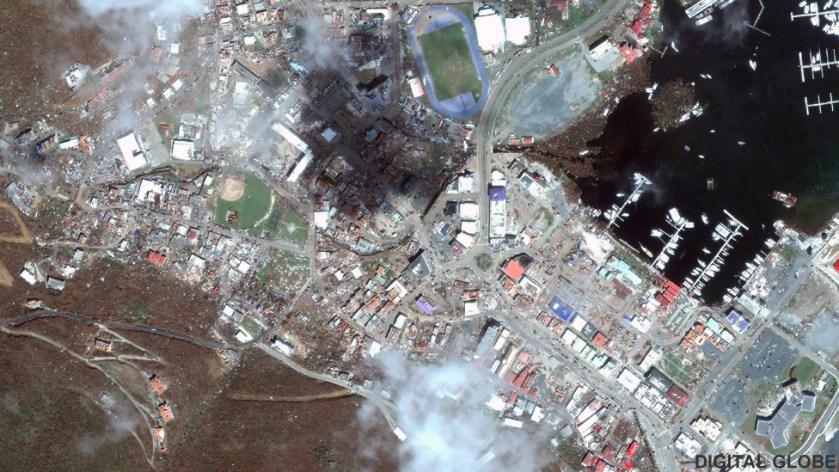 Satellite image of Road Town, Tortola after Hurricane Irma, 9 Sep 2017