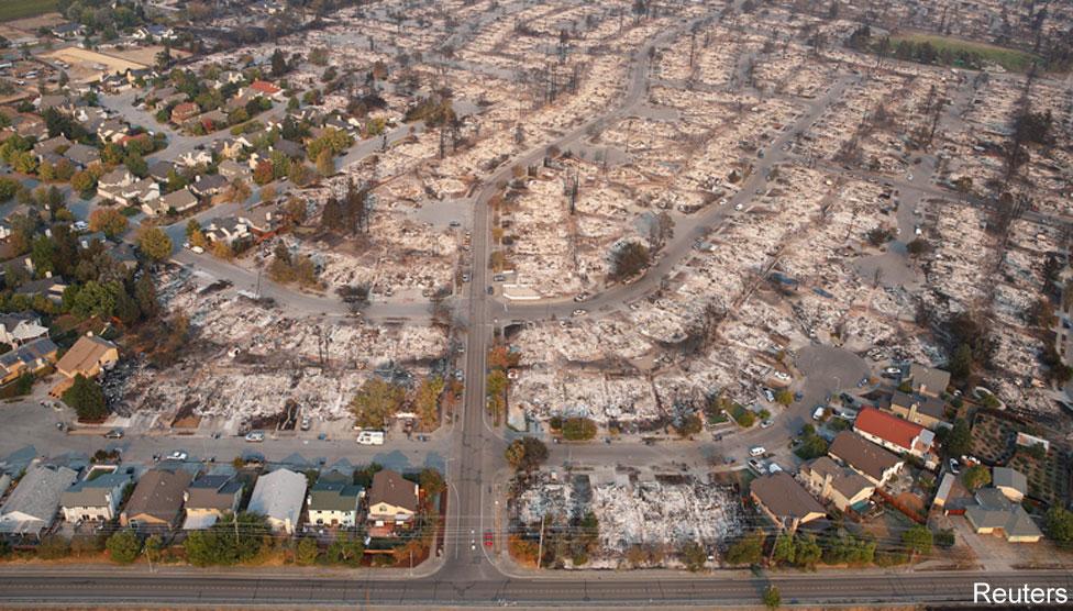 Google satellite image of Coffley Lane area of Santa Rosa after fire