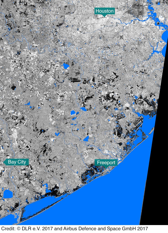 Satellite image of Texas coastline before Hurricane Harvey