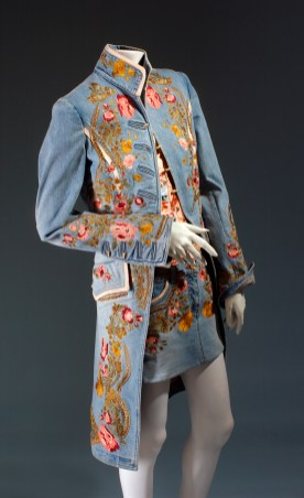 Roberto Cavalli, ensemble, embroidered denim, spring 2003, Italy, Gift of Roberto Cavalli. Photograph courtesy The Museum at FIT.