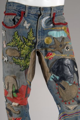 Levi Strauss & Co., jeans, hand-embroidered denim, circa 1969, USA, Gift of Jay Good. Photograph courtesy The Museum at FIT.