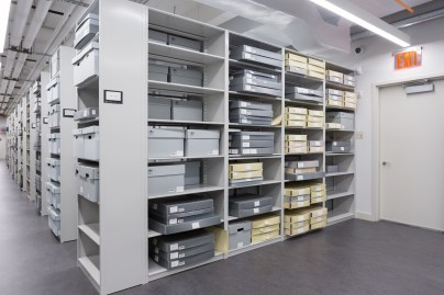 filing shelves in FIT Special Collections