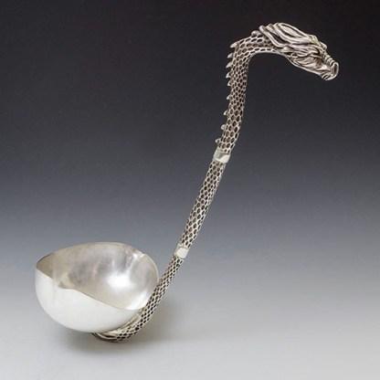 Regimental silver ladle with dragon head handle