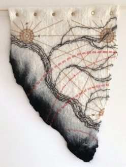 Ruth Jeyaveeran's embroidered art, Tributaries