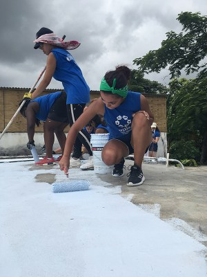 Students repaired the roofs of Puerto Rico homes.