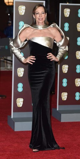"Sci-fi Chic: The fall/winter runways were awash in metallic silver. Take Calvin Klein's tinfoil-looking shifts or Paco Rabanne's mod-influenced chainmail. ""It makes me dream of space travel,"" Garcia says. Allison Janney wore a Star Trek–fabulous Bibhu Mohapatra '99 gown to the 2018 BAFTA Awards (pictured here). Photo ©Alpha Press"