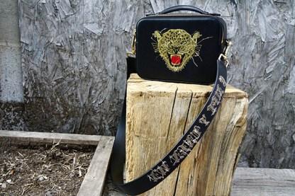 Reverse Embroidered Leopard Bag