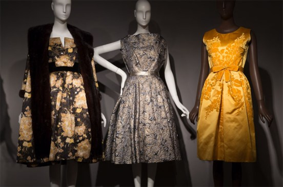 On view now: Fabric in Fashion Jacques Griffe, silver and gold Lurex matelassé evening dress, circa 1958, France. The Museum at FIT, 80.21.7, gift of Joe Simms. (center)