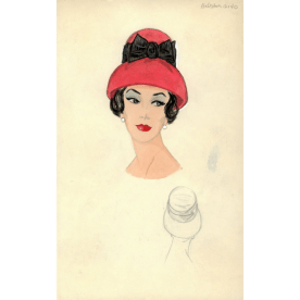 Illustration of a woman wearing a red hat