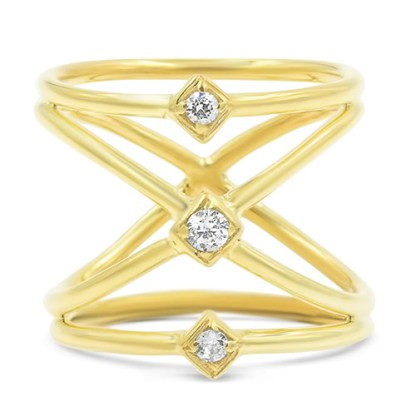 A 14K gold and diamond X band ring from the Holy Chic collection.