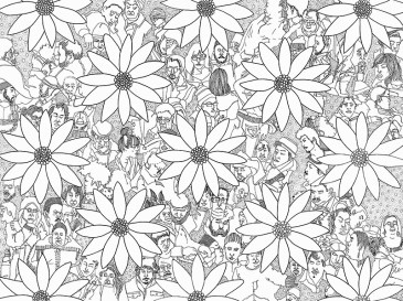 floral pattern repeat with faces