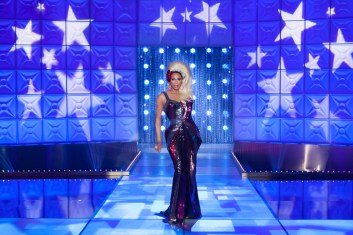 """For this season 10 stunner, """"I was in the mood to physically make a gown from start to finish,"""" Zaldy remembers. """"It had been a long time since that happened and for some reason, I wanted to get back in touch with that! I made time and told the studio not to come in for two weeks, and I made three gowns during that time!"""""""