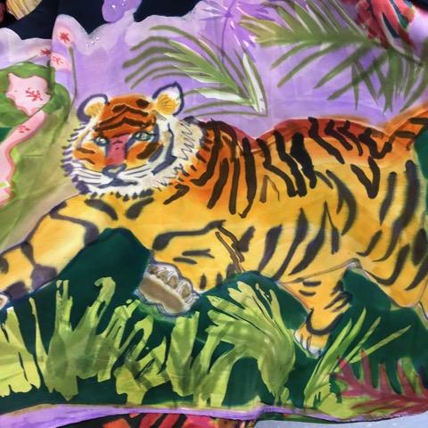closeup of Katz painting on fabric of a tiger