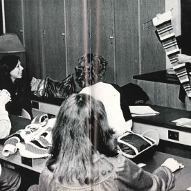 """The 1980 yearbook referred to Textile Technology (now Textile Development and Marketing) as """"a growing department"""" that had existed since the founding of the college. The feature celebrated the then seven-year-old knitting lab. (The lab, updated, is still in use.) The photo shows a Textile Science class taught by Allen Cohen."""