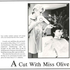 """Miss Olive, """"FIT's exclusive hairdresser and her inexpensive Hairdressing Lab"""" was on the 9th floor of the Business and Liberal Arts Center, 1980."""