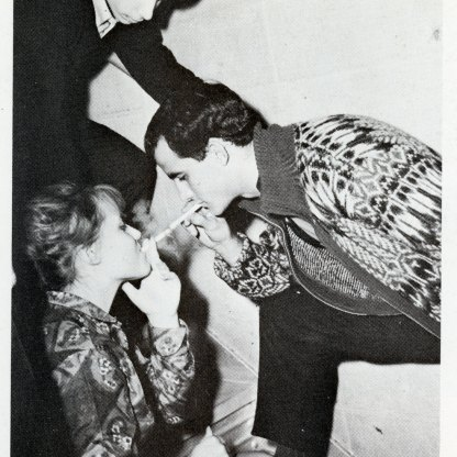 In 1962, Antonio Lopez, Illustration '62, who went on to become the legendary artist known as Antonio, served as art director on Portfolio. His partner Juan Ramos, Interior Design '62, shares a smoke with a pal here, as Antonio looks on.