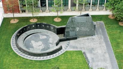 overhead photo of the African Burial Ground Memorial