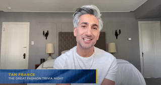 screenshot of Tan France participating in The Great Trivia Night