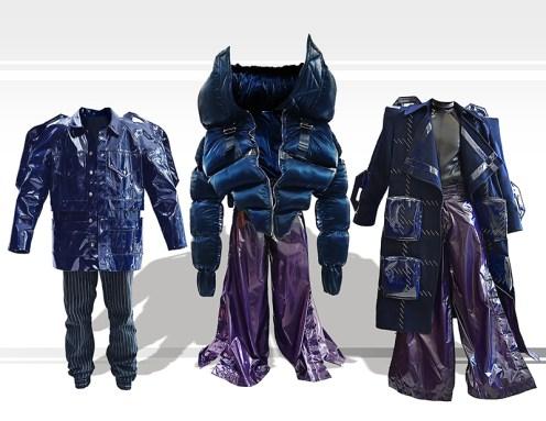 Three dark blue coats