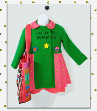 Green and pink coat and tote bag