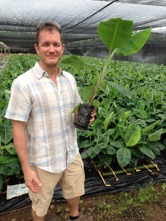 Machovina holds a banana sprout soon headed for a plantation in Costa Rica.