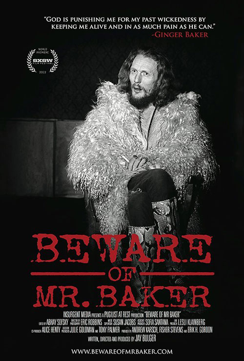 """Promotional image for the film """"Beware of Mr. Baker,"""" featuring an image of drummer Ginger Baker"""