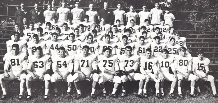 In 1968, Zizzo (front and center, No. 75) helped lead the Fordham Rams to a national club football championship.