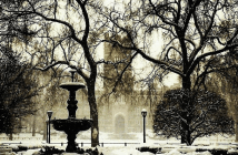 Fordham University's Rose Hill campus in the snow