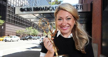 Sunday Morning's Sara Kugel with Emmy in front of CBS