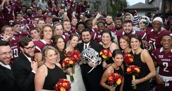 Fordham University Church wedding with Fordham football team