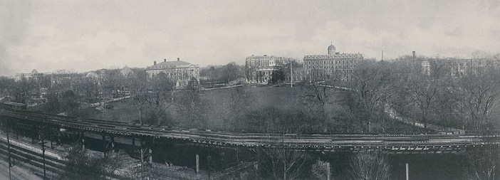A panoramic image of the Rose Hill campus, circa 1916, shows both the Metro-North and elevated rail lines.