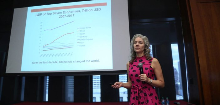 """Keynote speaker Jennifer Carpenter presents her research, """"The Real Value of China's Stock Market."""""""