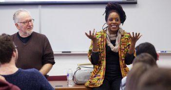 Akua Naru lectures in a Fordham Classroom