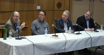 Paul Levinson, David Walton, Alex Shvartsman and Lance Strate discuss science fiction on stage at the McNally Ampitheatre, on the Lincoln Center campus